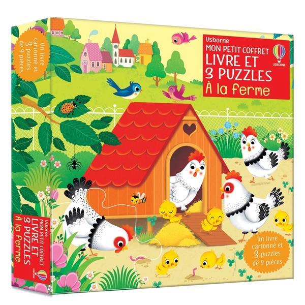 à la ferme : mon petit coffret livre et 3 puzzles