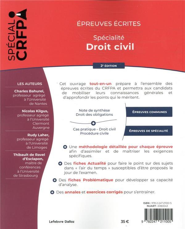épreuves écrites du CRFPA : spécialité droit civil (édition 2021)