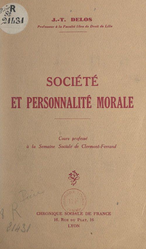 Société et personnalité morale