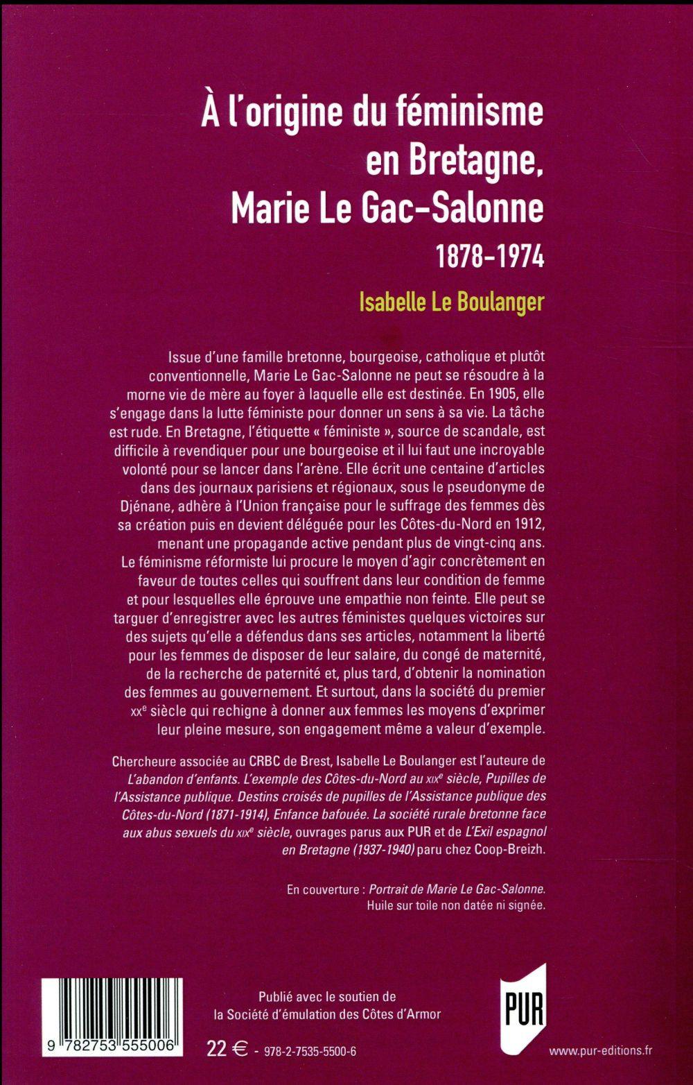 à l'origine du féminisme en Bretagne ; Marie Le Gac-Salome