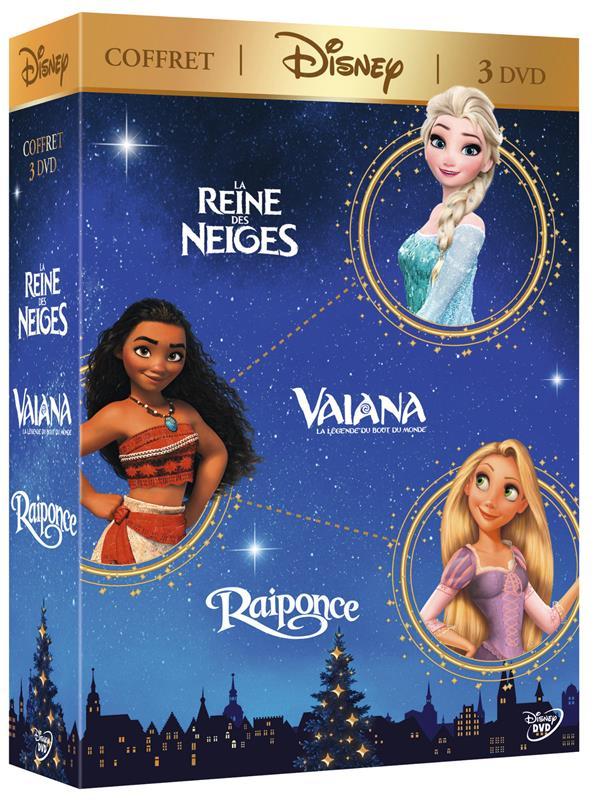 coffret Disney 3 films : Vaiana, la légende du bout du monde ; la Reine des neiges ; Raiponce