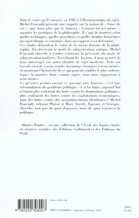 L'hermeneutique du sujet. cours au college de france (1981-1982)