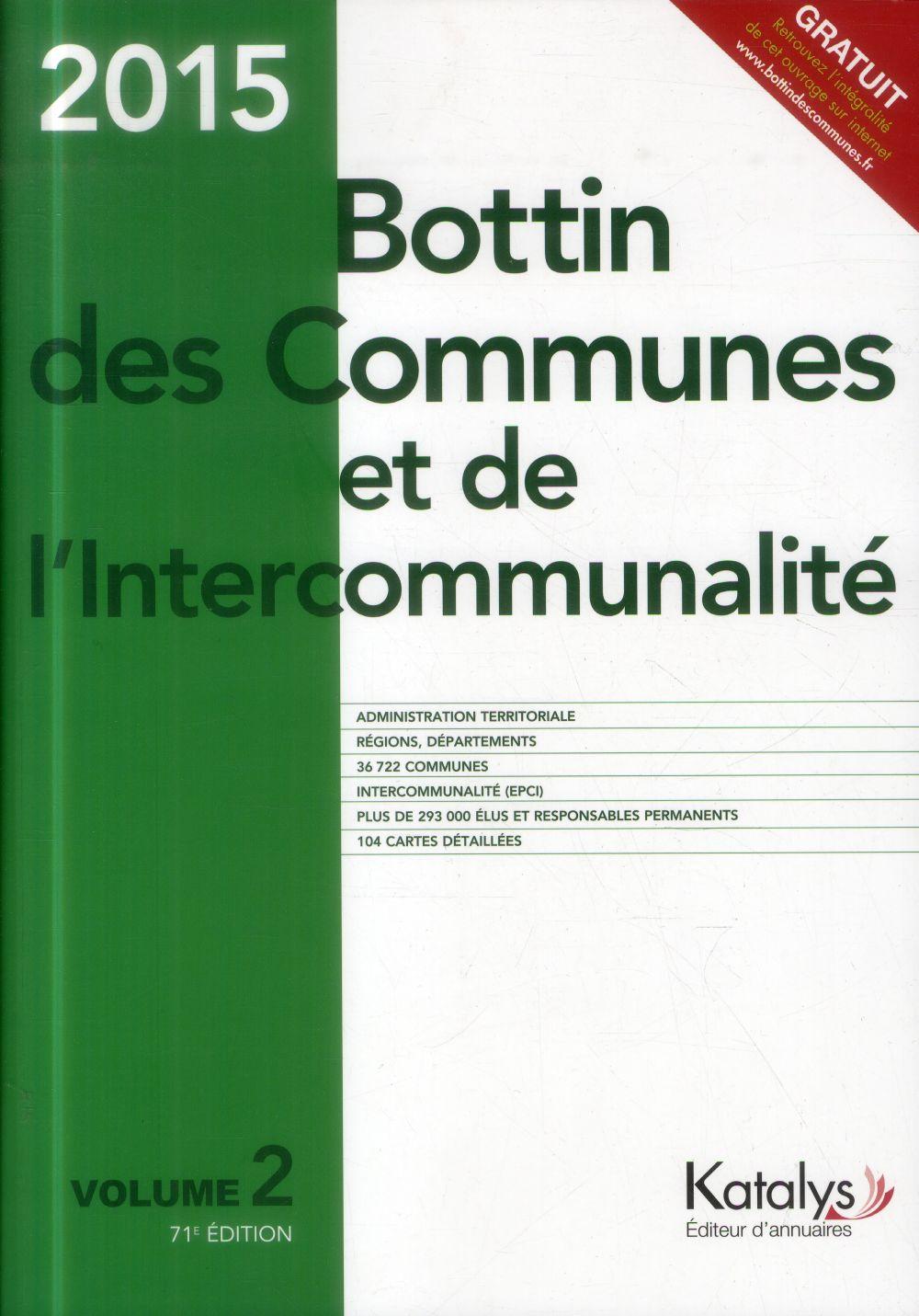 Bottin des communes et de l'intercommunalité (édition 2015)