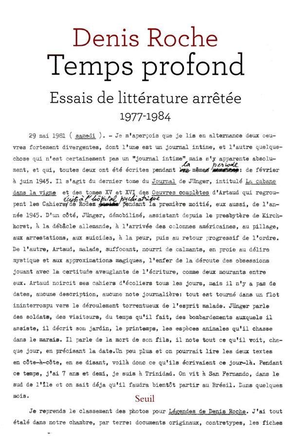 Temps profond ; essais de littérature arrêtée, 1977-1984