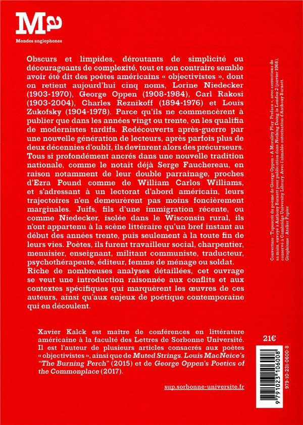 We said objectivist ; lire les poètes Lorine Niedecker, George Oppen, Carl Rakosi, Charles Reznikoff