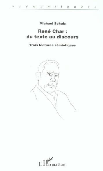 Rene char : du texte au discours - trois lectures semiotiques