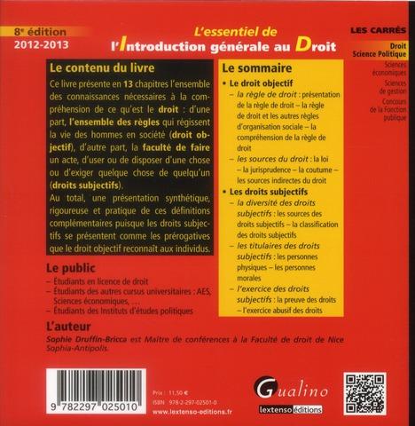 l'essentiel de l'introduction générale au droit ; 2012-2013 (8e édition)