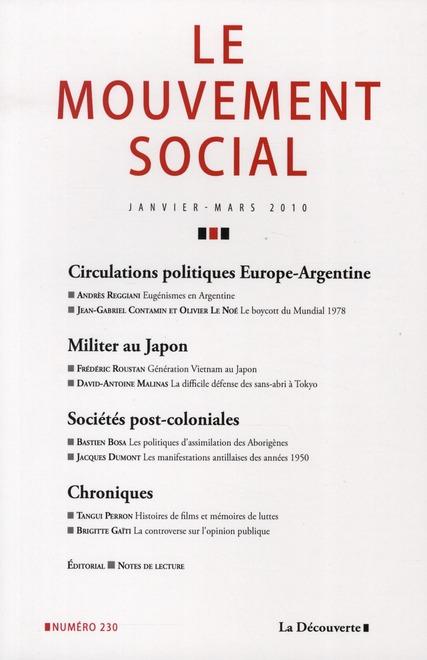 REVUE LE MOUVEMENT SOCIAL T.230 ; janvier-mars 2010