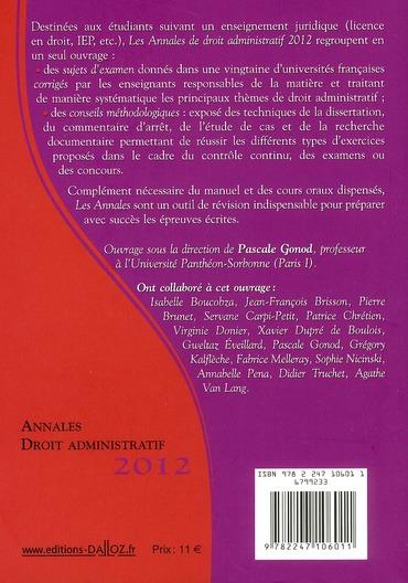Annales de droit administratif ; méthodologie et sujets corrigés (édition 2012)