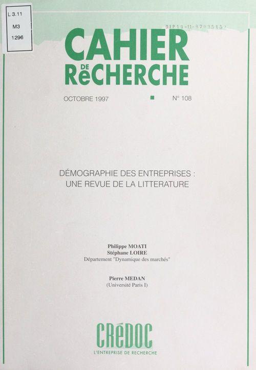 Démographie des entreprises : une revue de la littérature