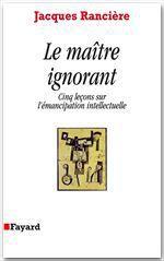 Vente Livre Numérique : Le Maître ignorant  - Jacques RANCIERE