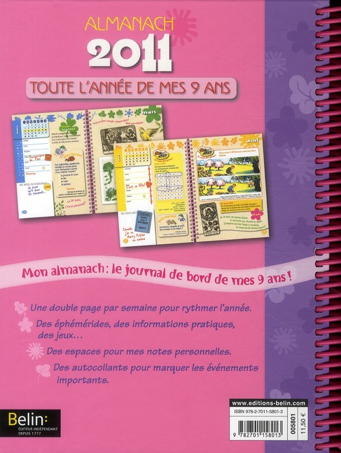 Toute l'année de mes 9 ans ; almanach 2011