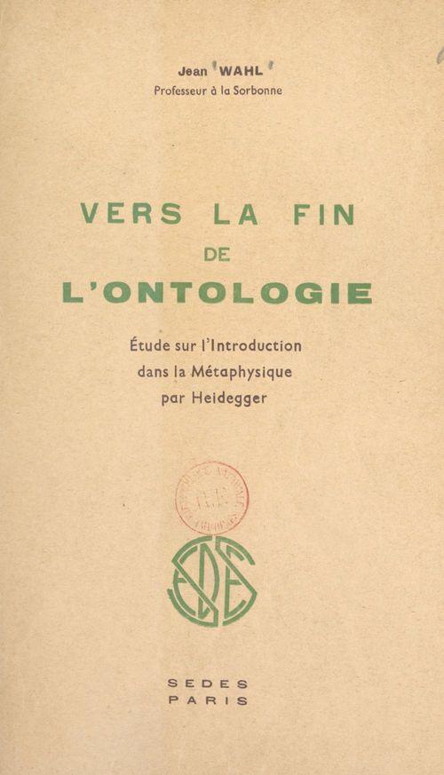 Vers la fin de l'ontologie