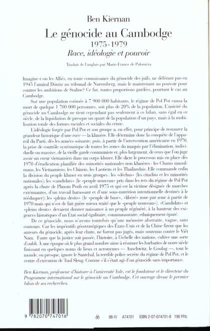 Le genocide au cambodge - (1975-1979). race, ideologie et pouvoir