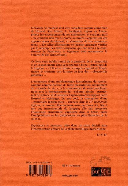 Experience et jugement (4e édition)