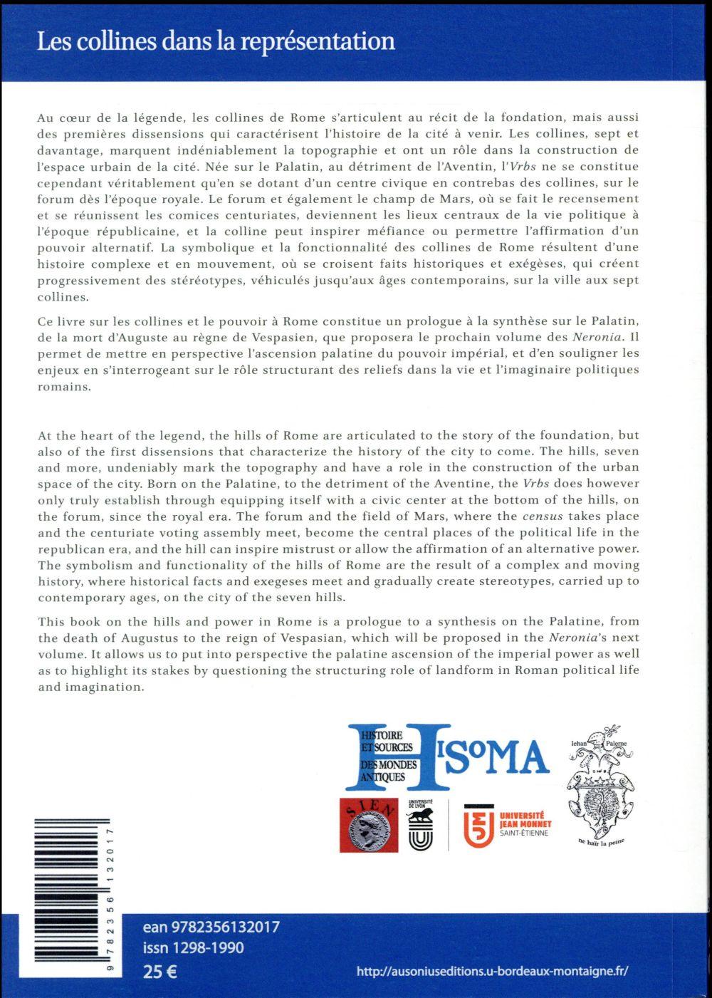 Les collines dans la representation et l'organisation du pouvoir a rome