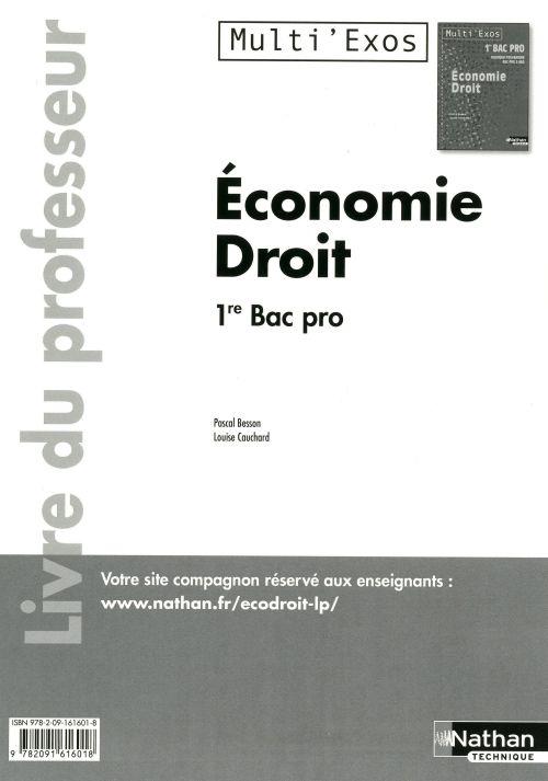 économie droit ; 1ère bac pro ; livre du  professeur (édition 2011)