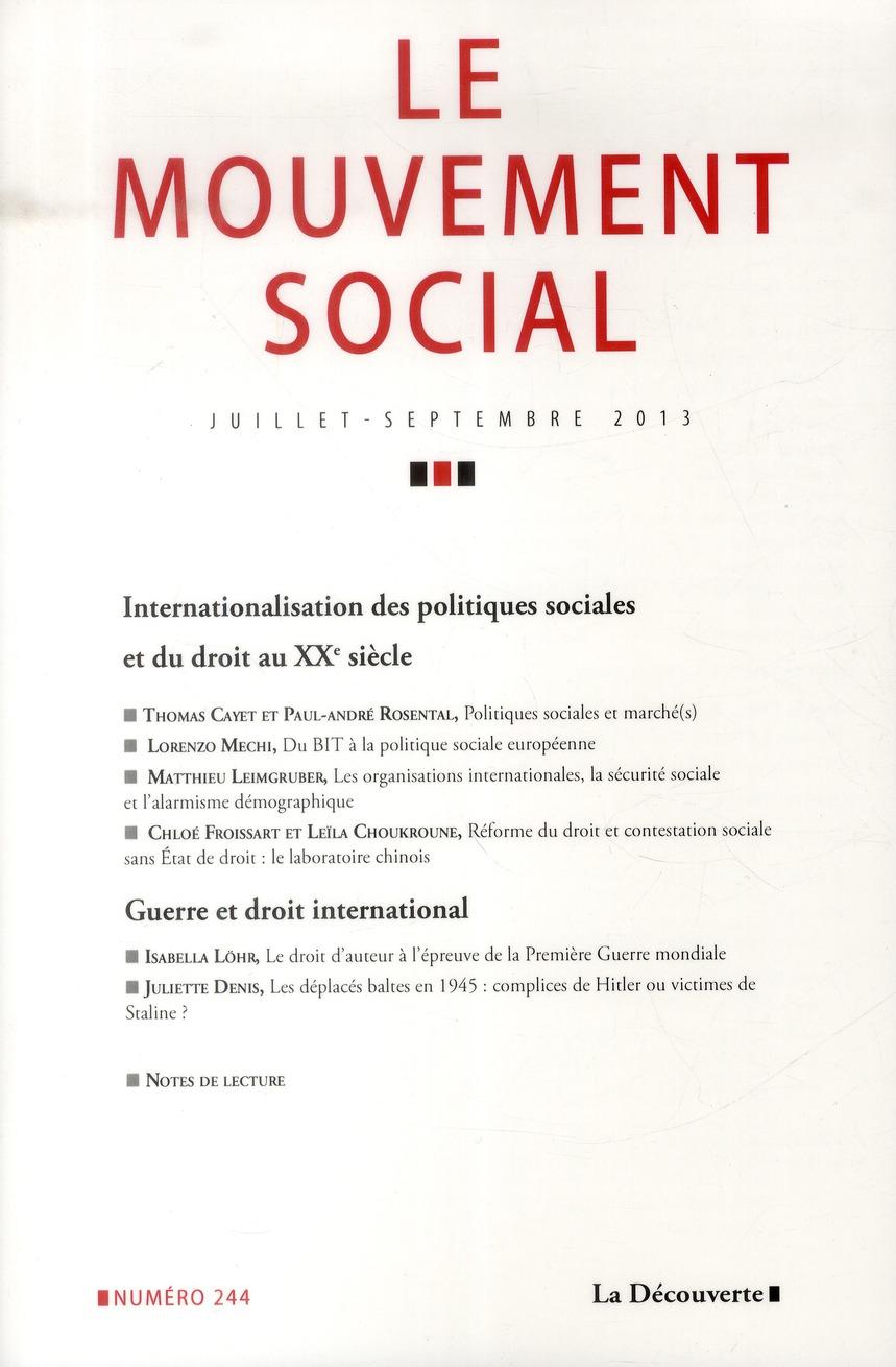 Revue le mouvement social t.244; internationalisation des politiques sociales