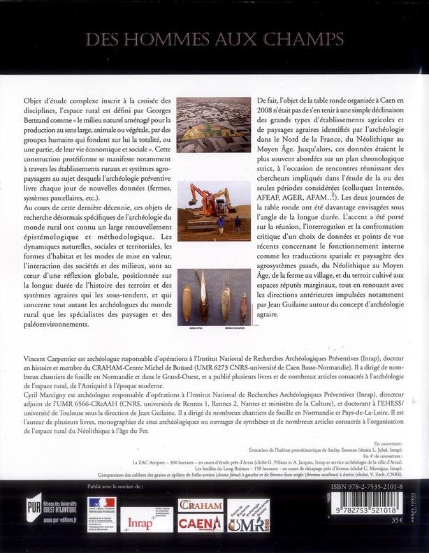 Des hommes aux champs ; pour une archéologie des espaces ruraux du Néolithique au Moyen Âge