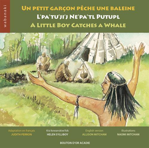 Un petit garçon pêche une baleine ; a little boy catches a whale