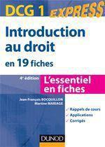 Dcg 1 ; Introduction Au Droit En 19 Fiches (4e Edition)