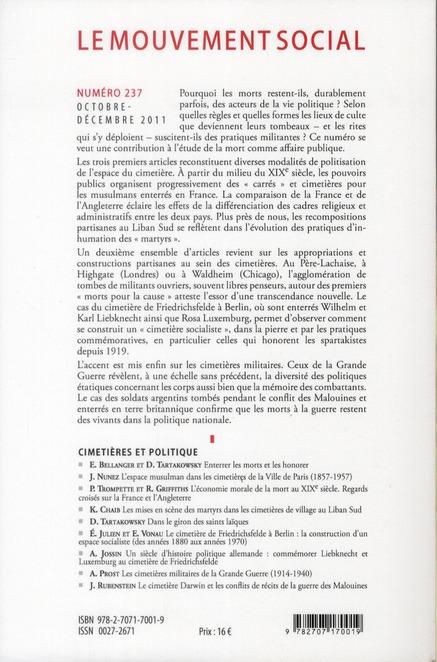 Revue le mouvement social t.237; cimetieres et politique