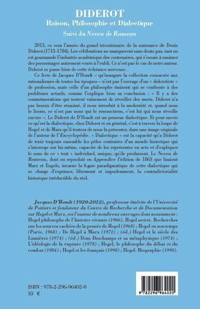 Diderot ; raison, philosophie et dialectique ; le neveu de Rameau