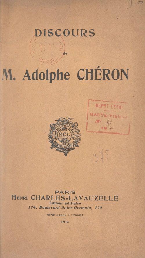 Discours de M. Adolphe Chéron