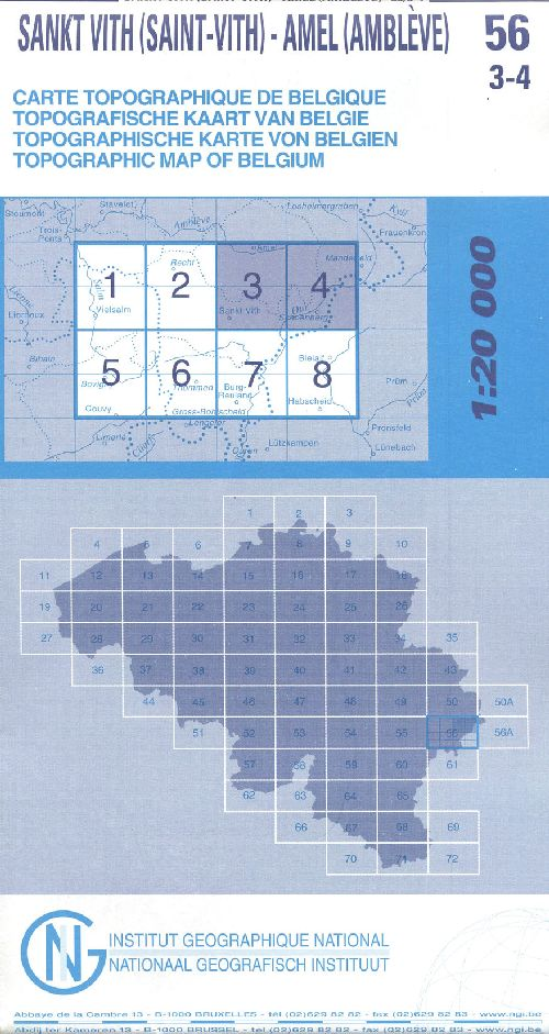 Carte topographique de Belgique 56 ; Sankt Vith (Saint-Vith) ; Amel (Amblève)