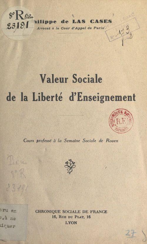 Valeur sociale de la liberté d'enseignement