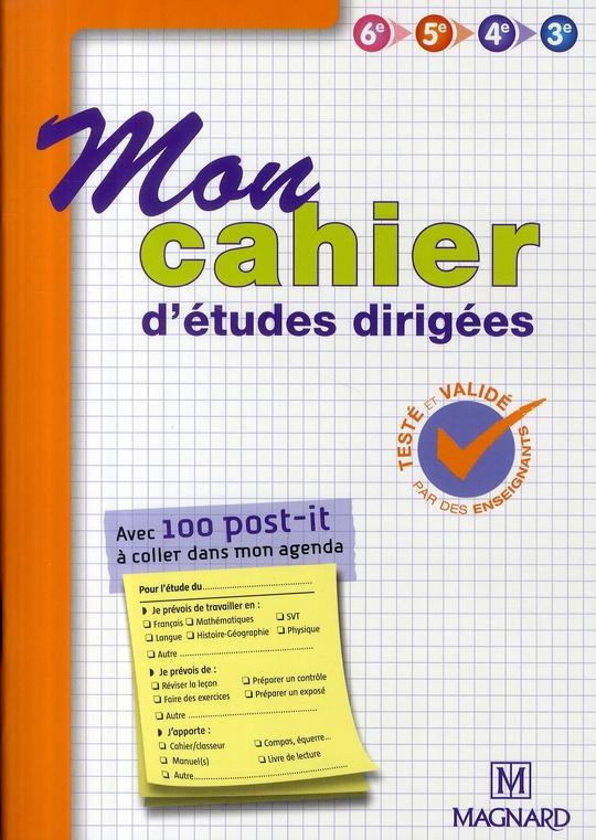 Mon Cahier D'Activites ; Mon Cahier D'Etudes Dirigees