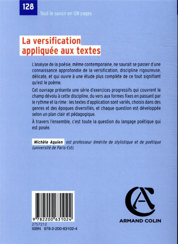 la versification appliquée aux textes (5e édition)