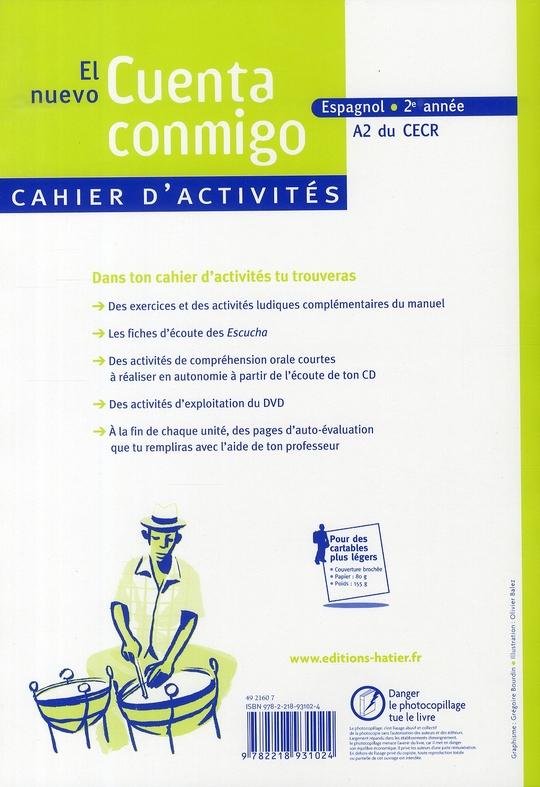 EL NUEVO CUENTA CONMIGO ; espagnol ; 2e année ; cahier d'activités (édition 2008)