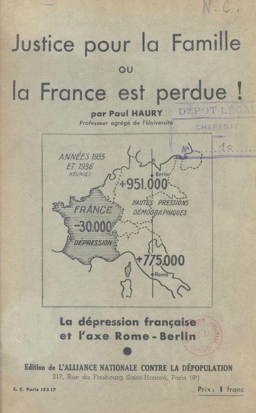 Justice pour la famille ou la France est perdue !