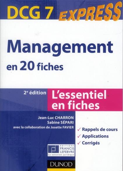 DCG 7 ; management en 20 fiches (2e édition)