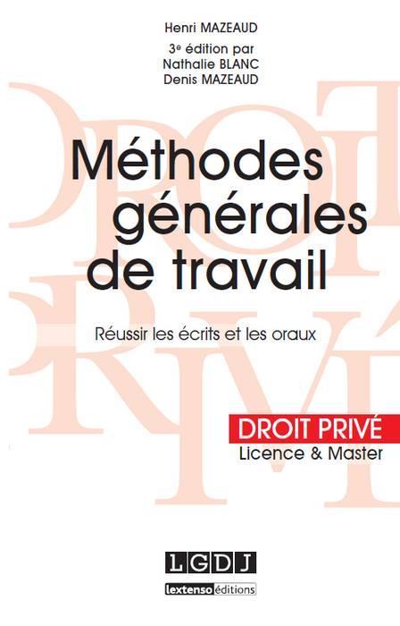 Méthodes générales de travail (3e édition)