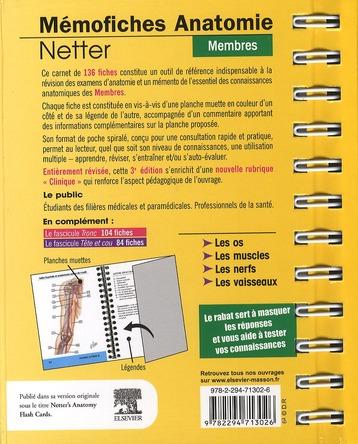 Mémofiches anatomie Netter ; membres (3e édition)