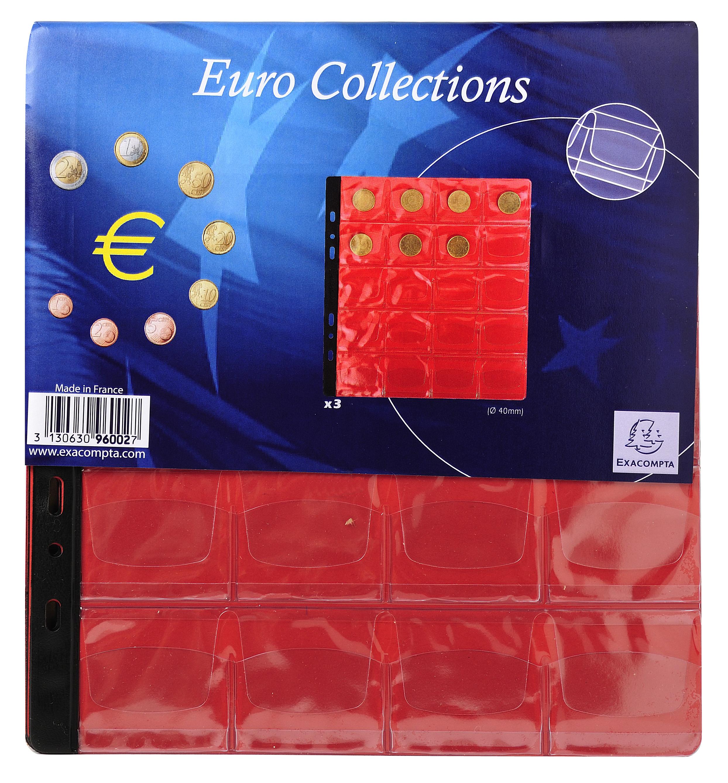 Sachet de 3 recharges numismatiques 20 cases de diamètre 40mm - 24,5x25 cm