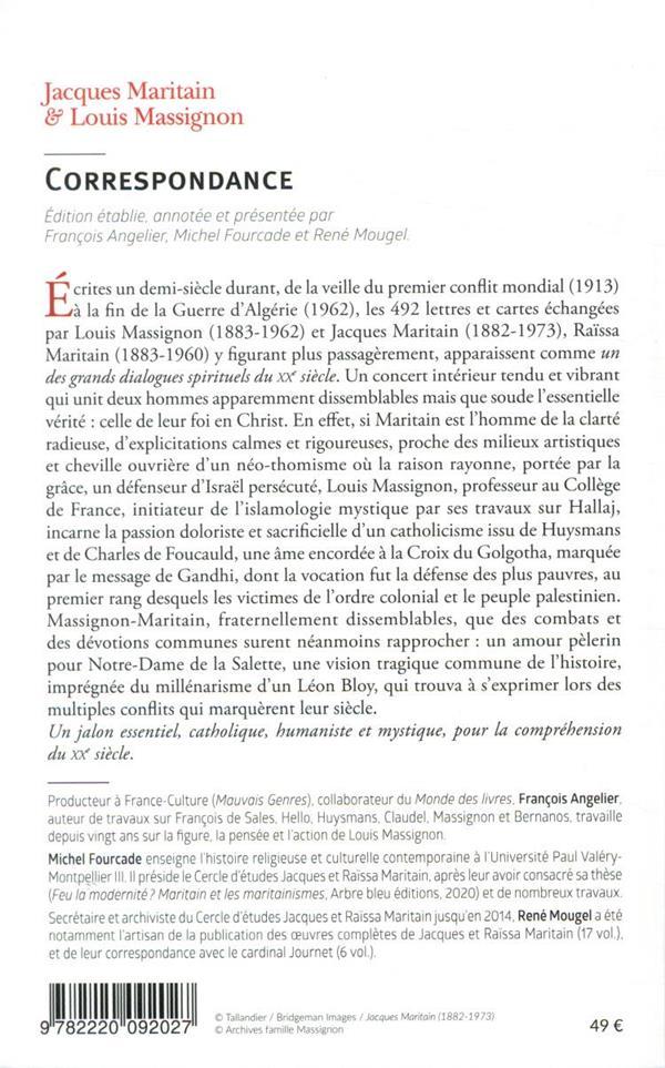 Jacques Maritain & Louis Massignon ; correspondance