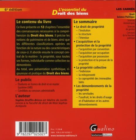l'essentiel du droit des biens (6e édition)