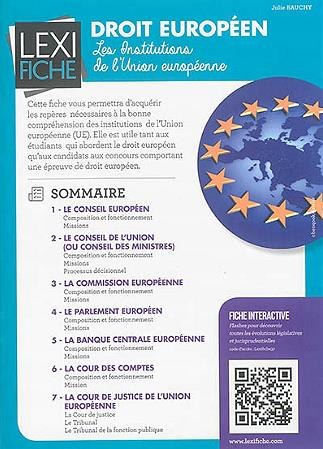 Droit Europeen ; Les Institutions De L'Union Europeenne