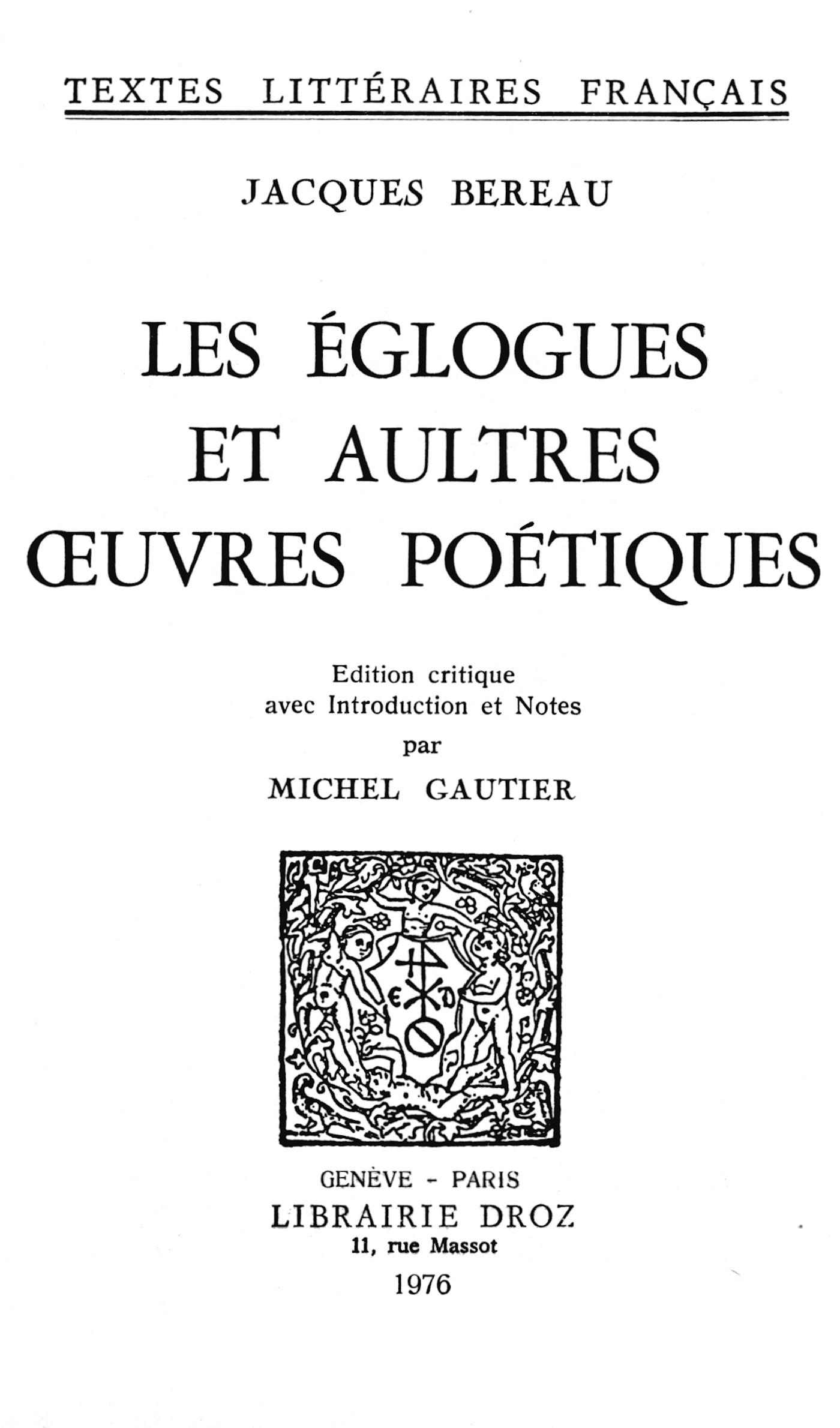 Les eglogues et aultres oeuvres poetiques