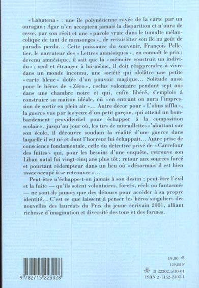 Carrefour des fuites et autres nouvelles - prix du jeune ecrivain 2001