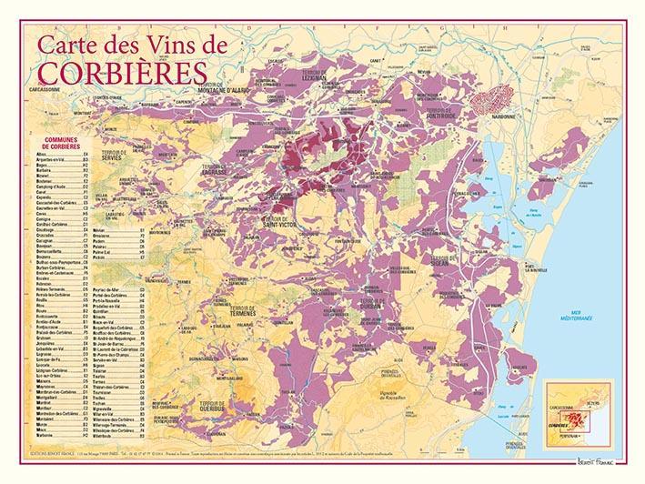 Carte des vins de Corbières