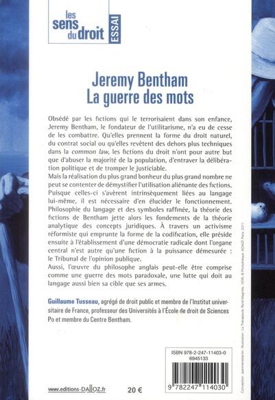 Jérémie Bentham, la guerre des mots (édition 2011)