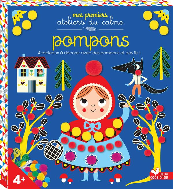 Pompons ; 4 tableaux à décorer avec des pompons et des fils !