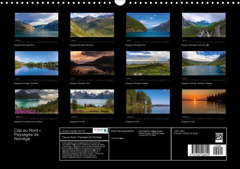 Cap au Nord ; paysages de Norvège (calendrier mural 2017 DIN A4 horizontal)