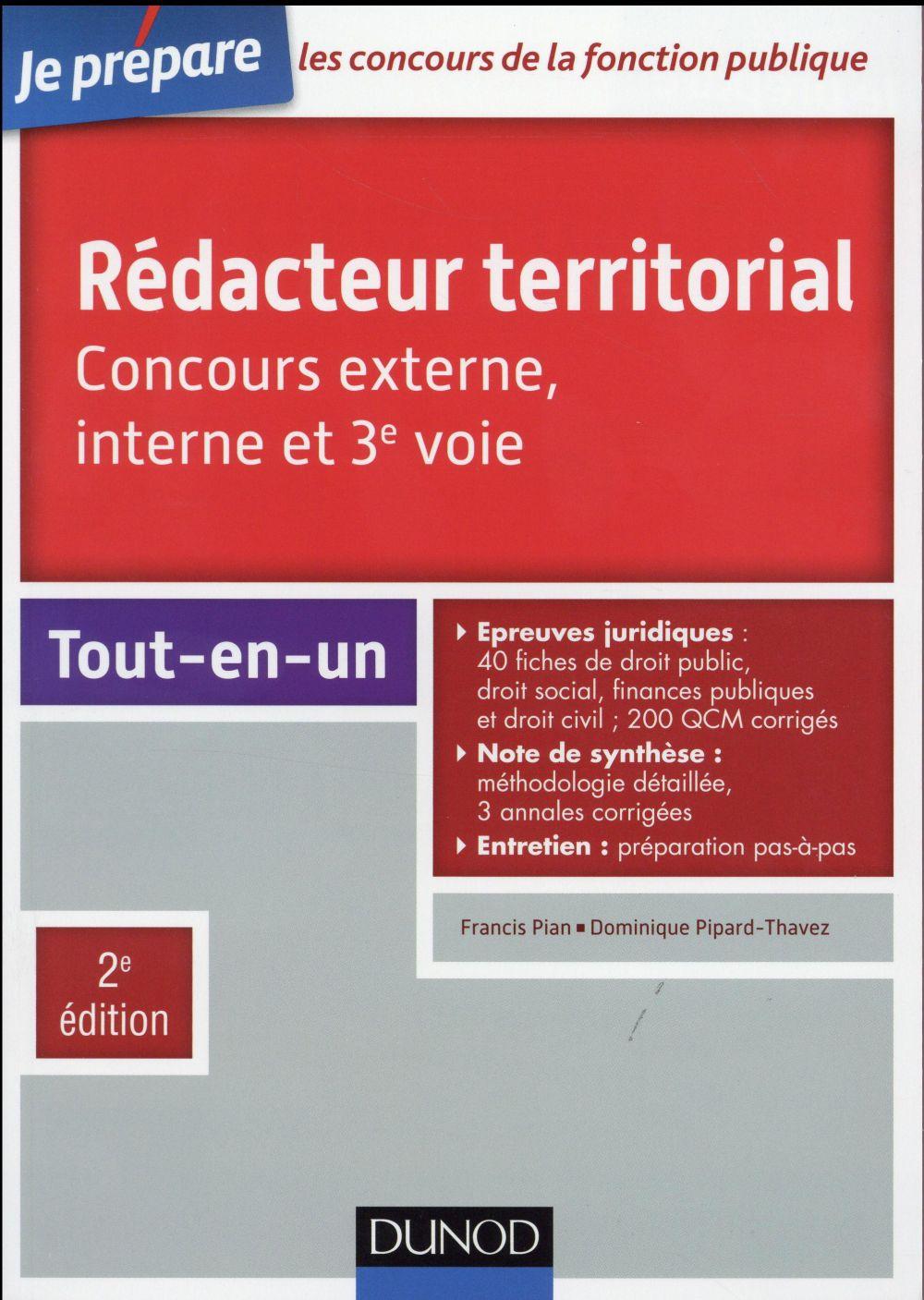 Je prépare ; rédacteur territorial ; concours externe, interne et 3e voie ; tout-en-un (2e édition)