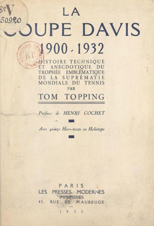 La Coupe Davis, 1900-1932