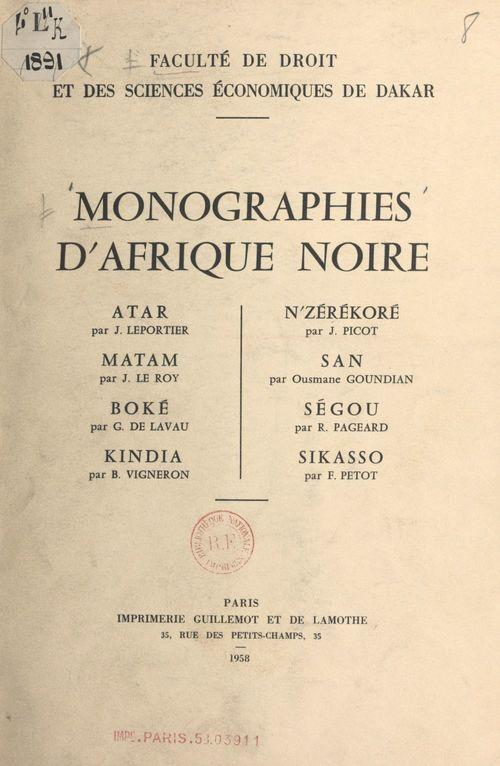 Monographies d'Afrique noire